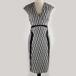 Kay Unger black  & white  bodycon wiggle dress